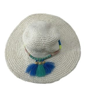 White Woven Floppy Beach Hat Wide Brim Tassel Band
